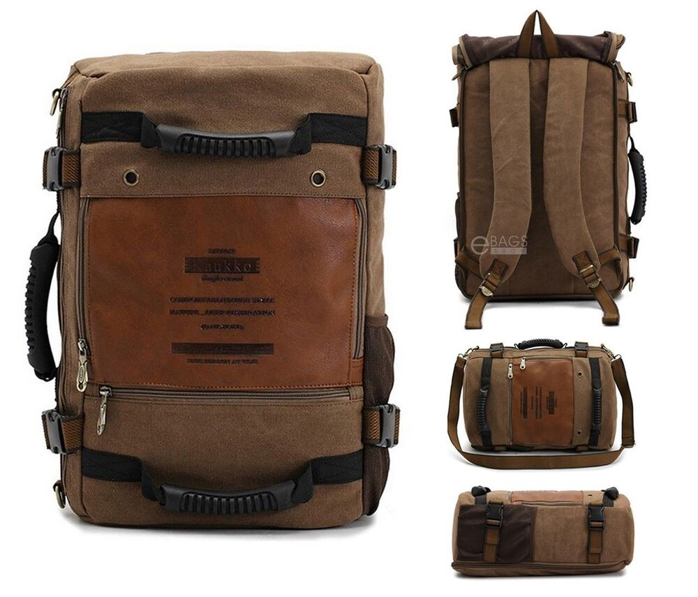 Retro vintage canvas outdoor backpack rucksack travel for Outdoor rucksack