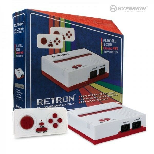Retron 1 nes system top loader white red 2 controllers nintendo