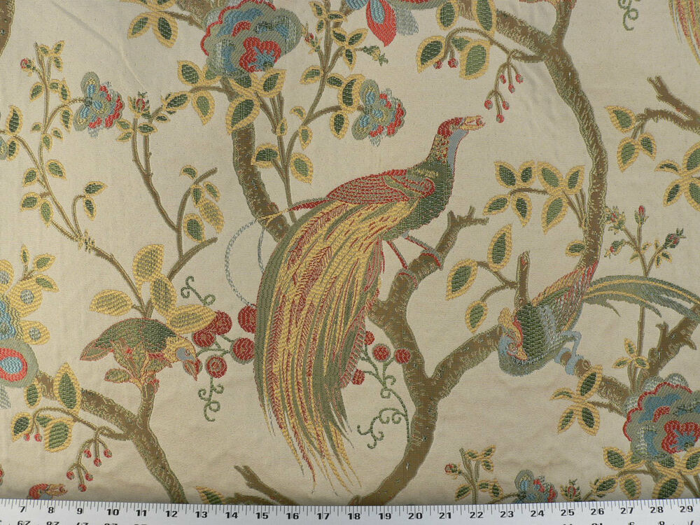 Drapery Upholstery Fabric Birds And Berries Embroidered