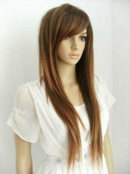 Natural Daily Dress Women Light Brown Long Straight Bangs