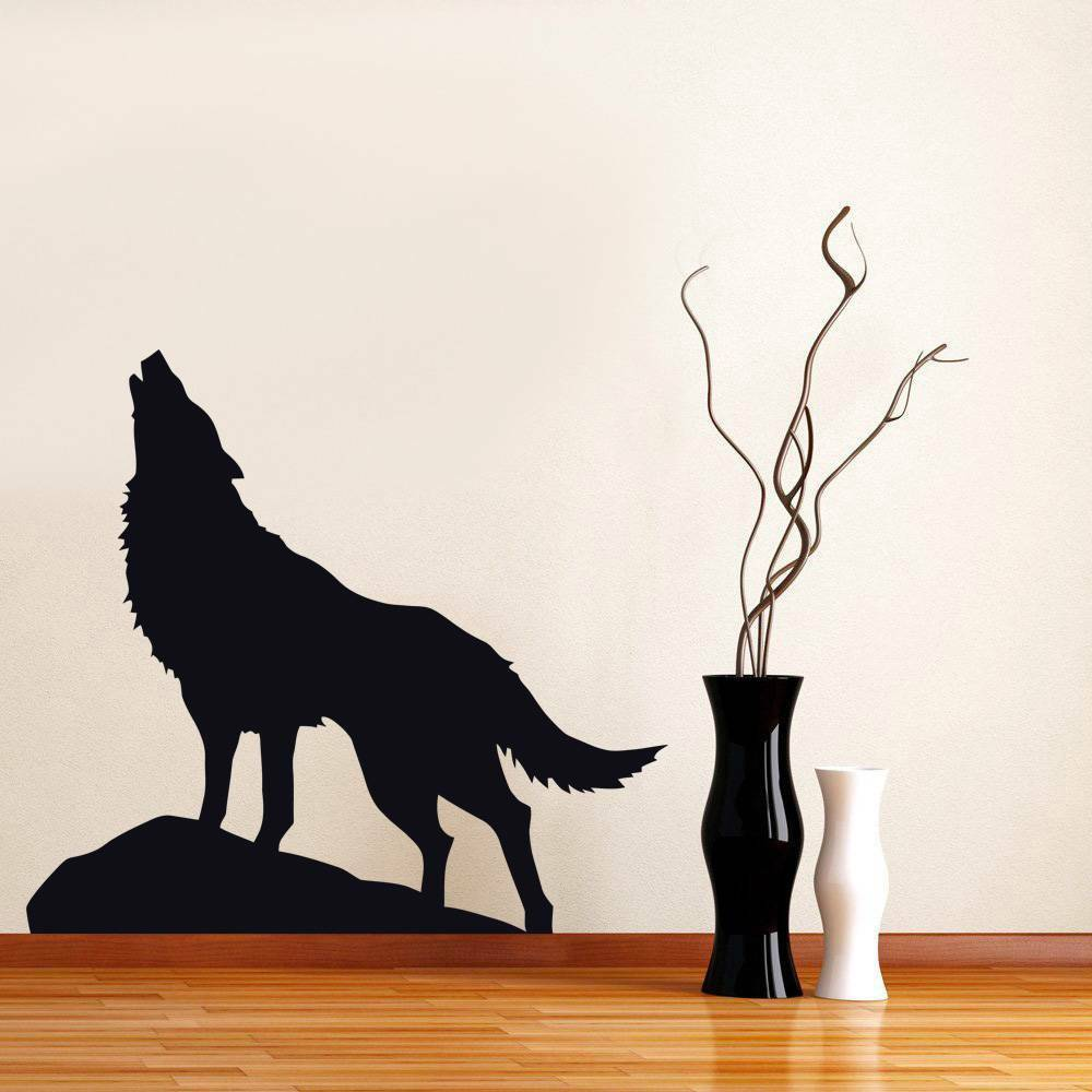 Wolf decal animal wall sticker silhouette home decor art for Silhouette wall art