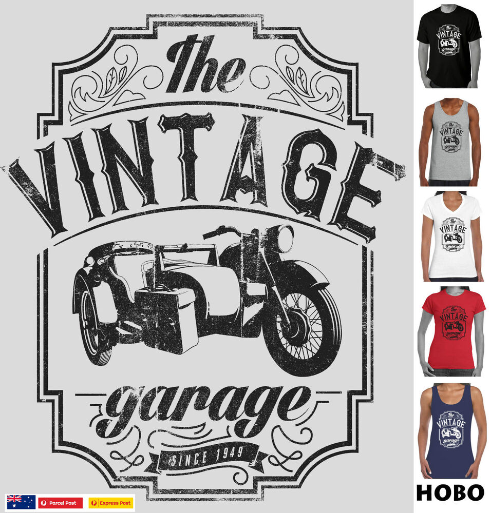 Vintage Garage Ideas: Vintage Garage Side Car Motorbike Size Designs T-shirt