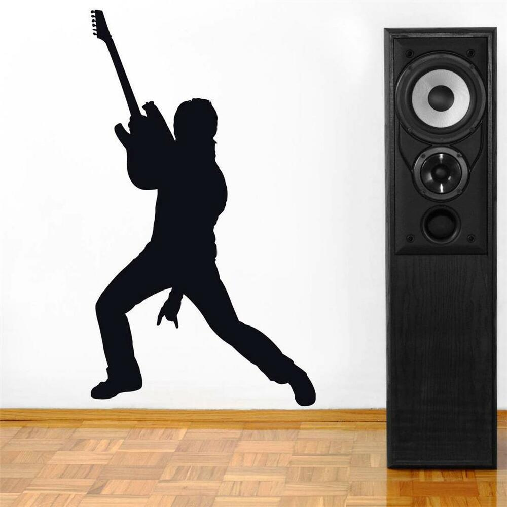 ROCK GUITAR PLAYER Decal WALL STICKER Silhouette Home