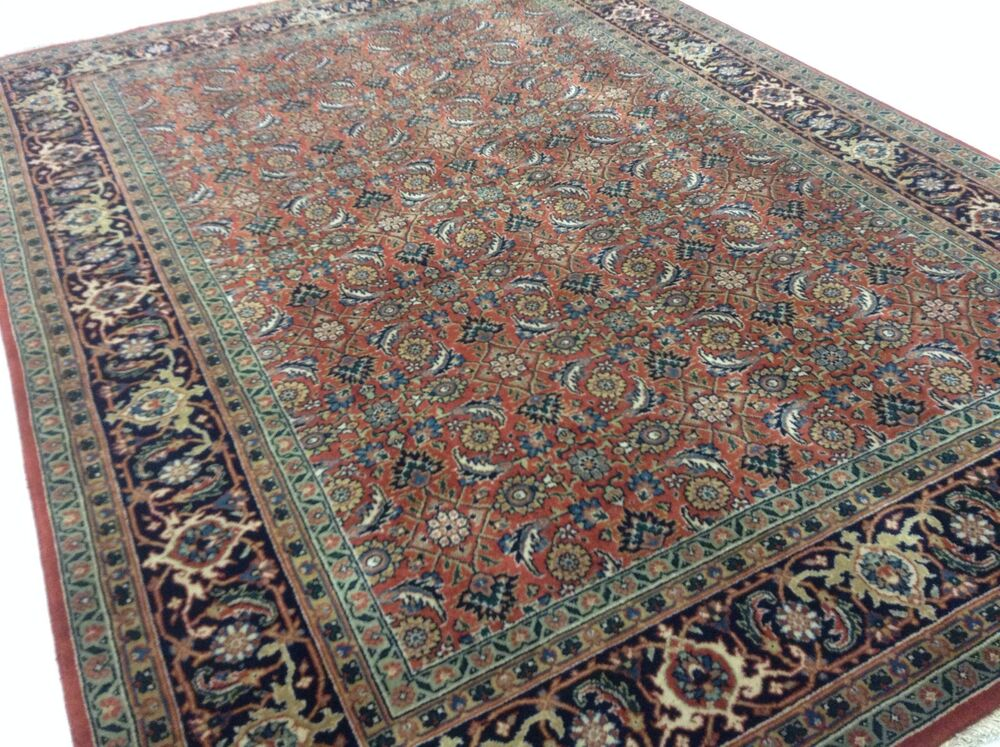 5 X 7 Rust Navy Persian Oriental Rug New Hand Knotted Wool