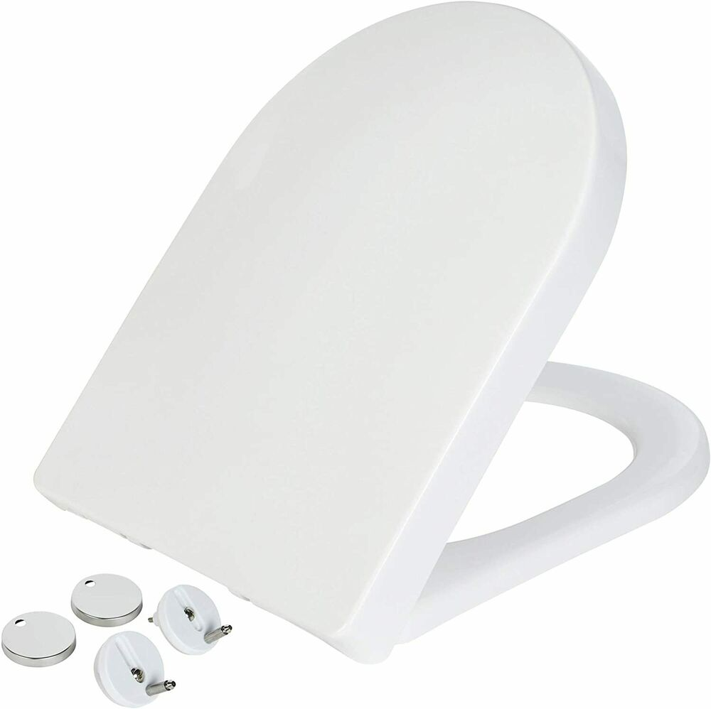 NEW LUXURY SOFT CLOSE HEAVY DUTY D SHAPE TOILET SEAT WITH TOP FIXING HINGES