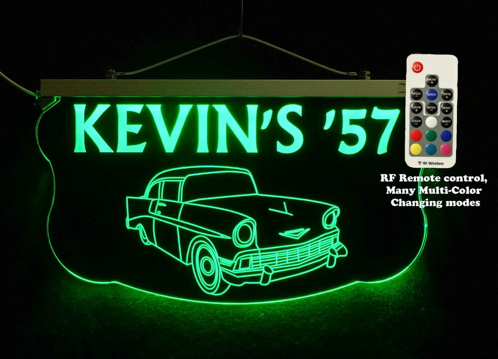 Man Cave Led Signs : Personalized custom led sign man cave garage chevy