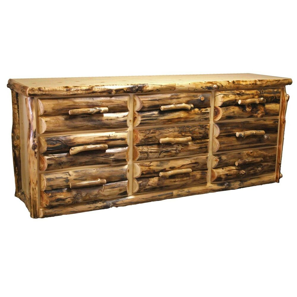 9 Drawer Log Dresser Country Western Rustic Cabin Dresser Bedroom Furniture Ebay