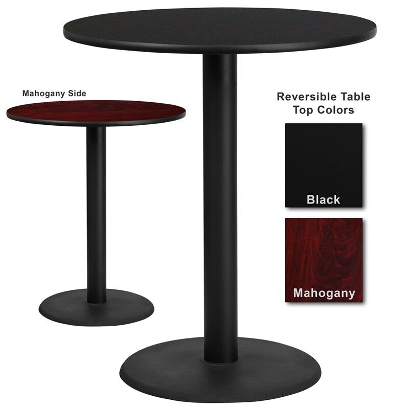 36 round bar height restaurant table with black or for Bar table cuisine