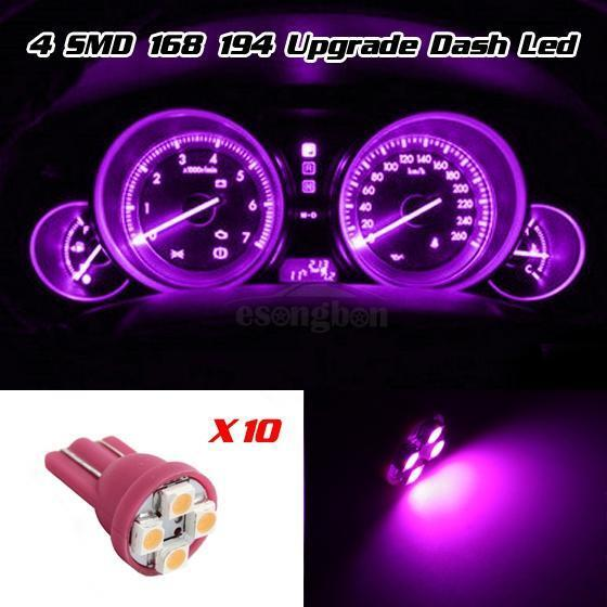 10x pink purple 12v led 194 t10 wedge instrument panel. Black Bedroom Furniture Sets. Home Design Ideas