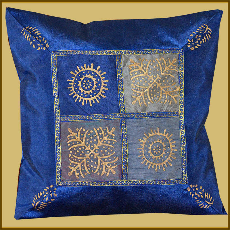 BLUE SILK GOLD BLOCK PRINTING PILLOW COVER/CUSHION COVER