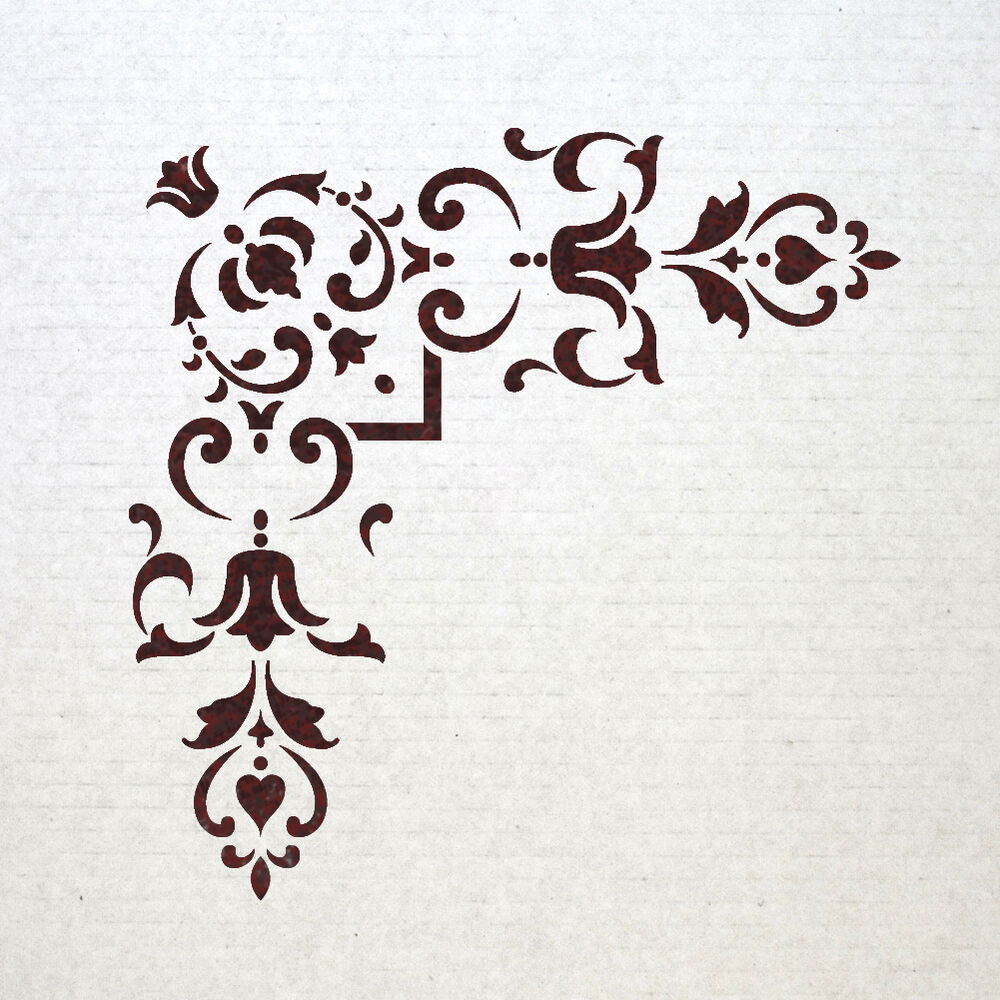 Corner stencil reusable template 012 for wall diy decor ebay for Decor 6 template