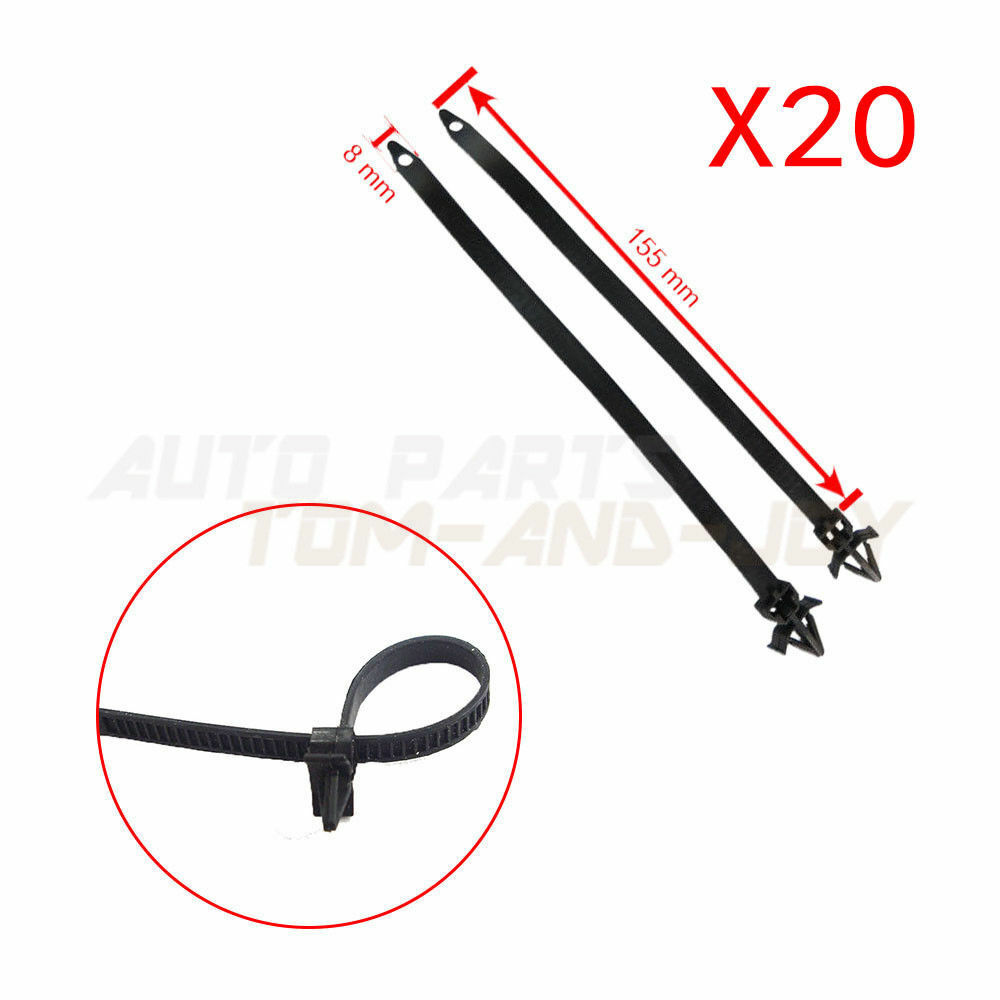 20pcs ties releasable nylon cable strap push mount wire for honda mazda 7mm hole