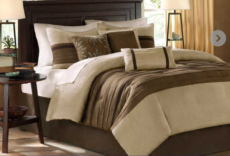 BEAUTIFUL CHIC TEXTURED SOFT TAN TAUPE BEIGE BROWN BLACK GREY COMFORTER SET NEW!