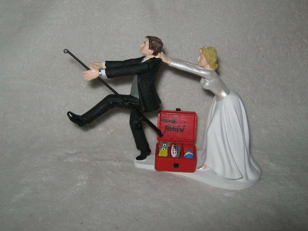 Wedding Party Reception Gone Fishing Bridal Cake Topper Pole Fisherman EBay