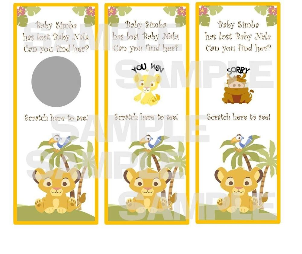 Lion Baby Shower Ideas: LION KING Baby Shower Party Game Scratch Off Tickets SIMBA
