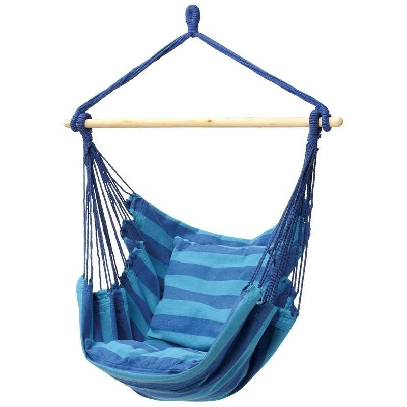 NEW OUTDOOR HAMMOCK HANGING ROPE SWING CHAIR BLUE CLUB FUN ...