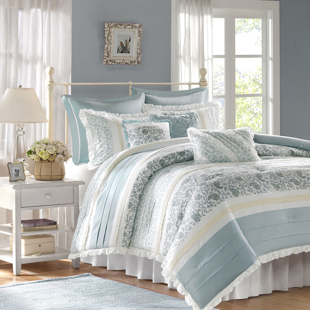 Beautiful 8pc elegant vintage chic white blue grey floral ruffle comforter set ebay for Beautiful bedroom comforter sets