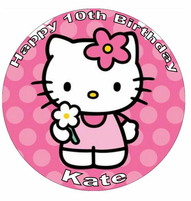 "Hello Kitty Personalised Cake Topper 7.5"" Edible Wafer ..."