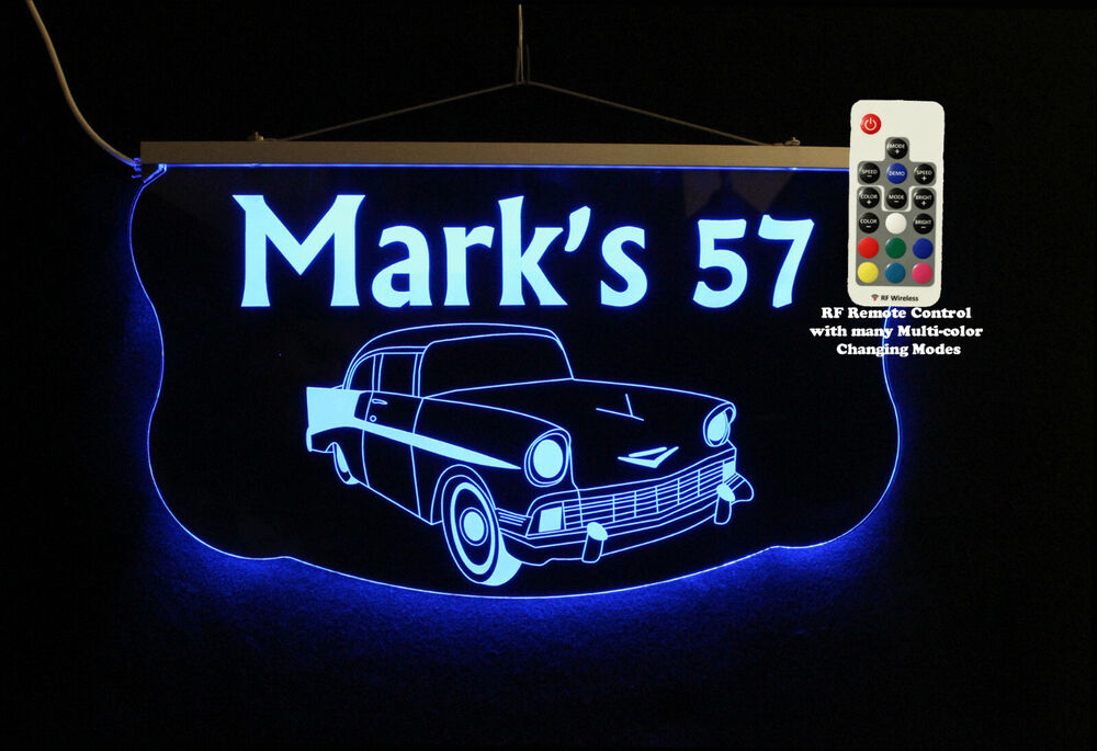 Personalized Man Cave Garage Signs : Personalized led sign man cave garage chevy antique