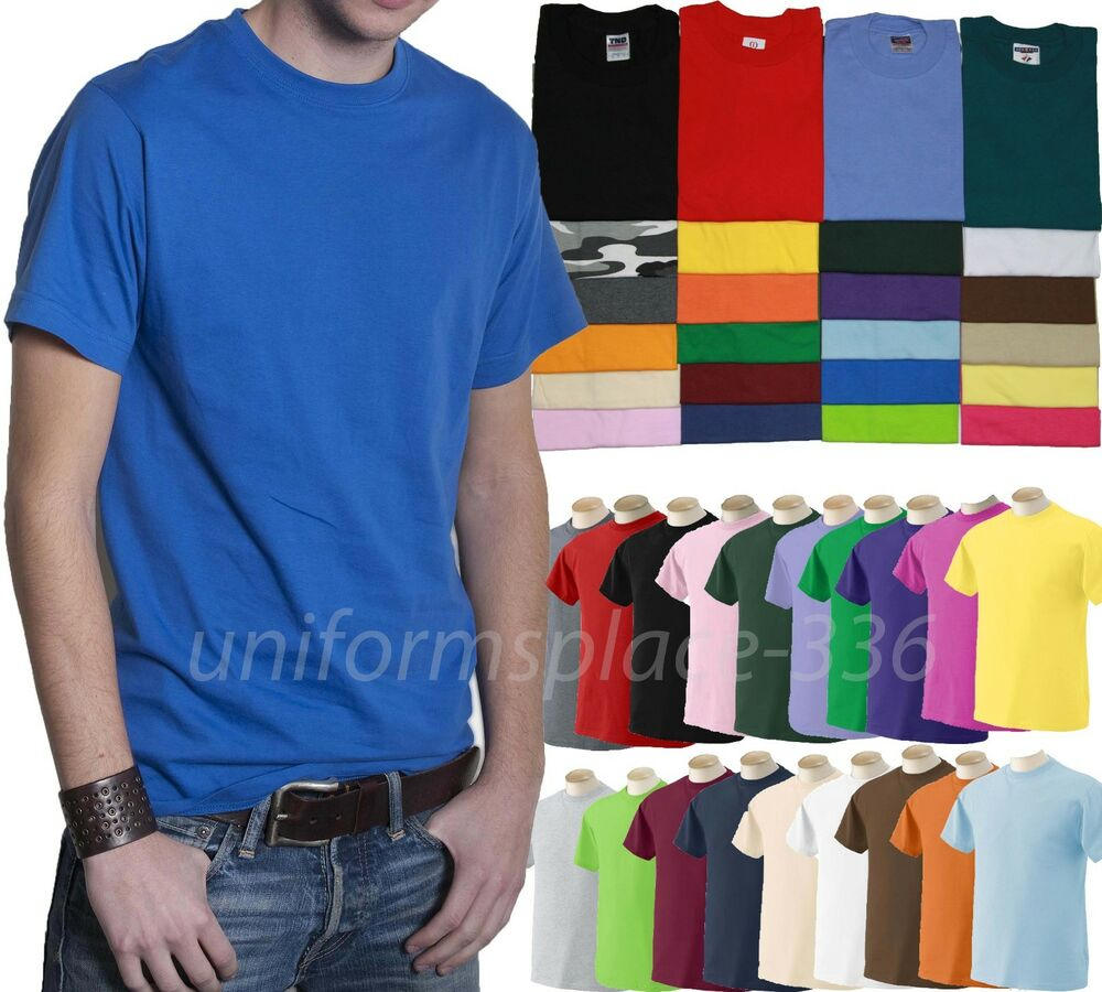 Mens t shirts short sleeve tee solid colors cotton plain for Mens colored t shirts