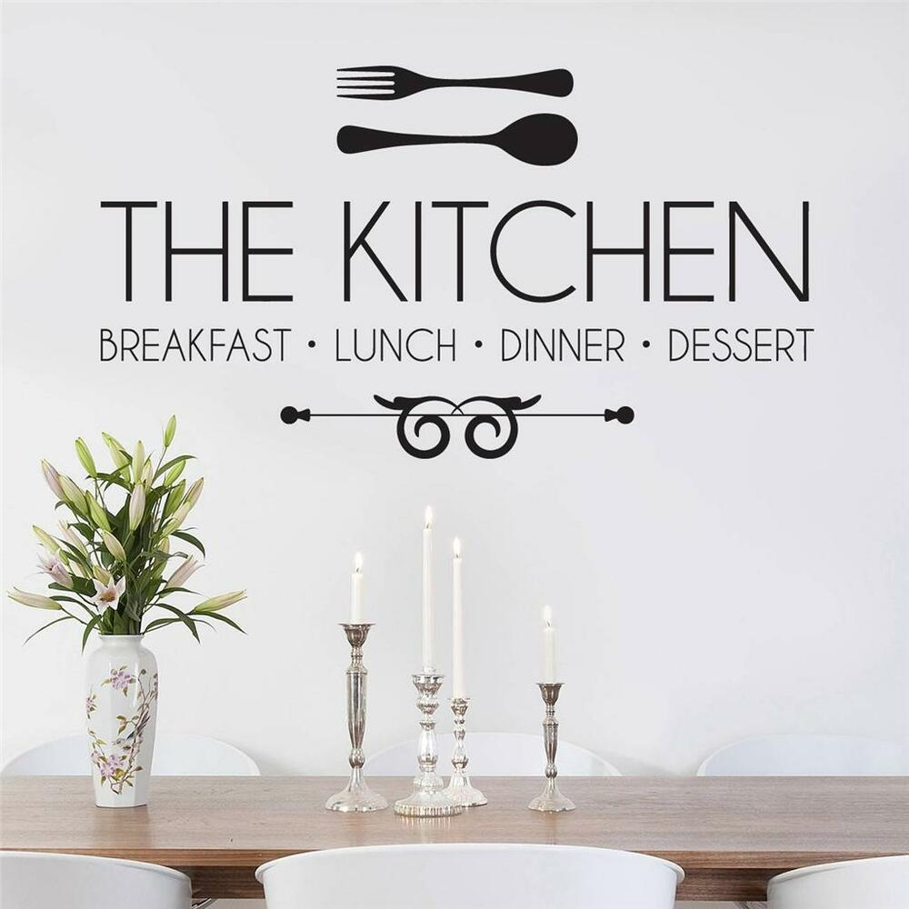 Kitchen Wall Decals Quotes: THE KITCHEN, Breakfast, Lunch, Dinner Decal WALL STICKER