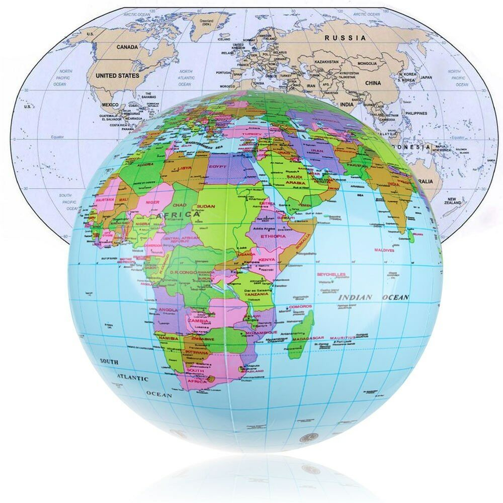 Cm Inflatable Earth World Globe Map Beach Ball Educational - Us map on globe