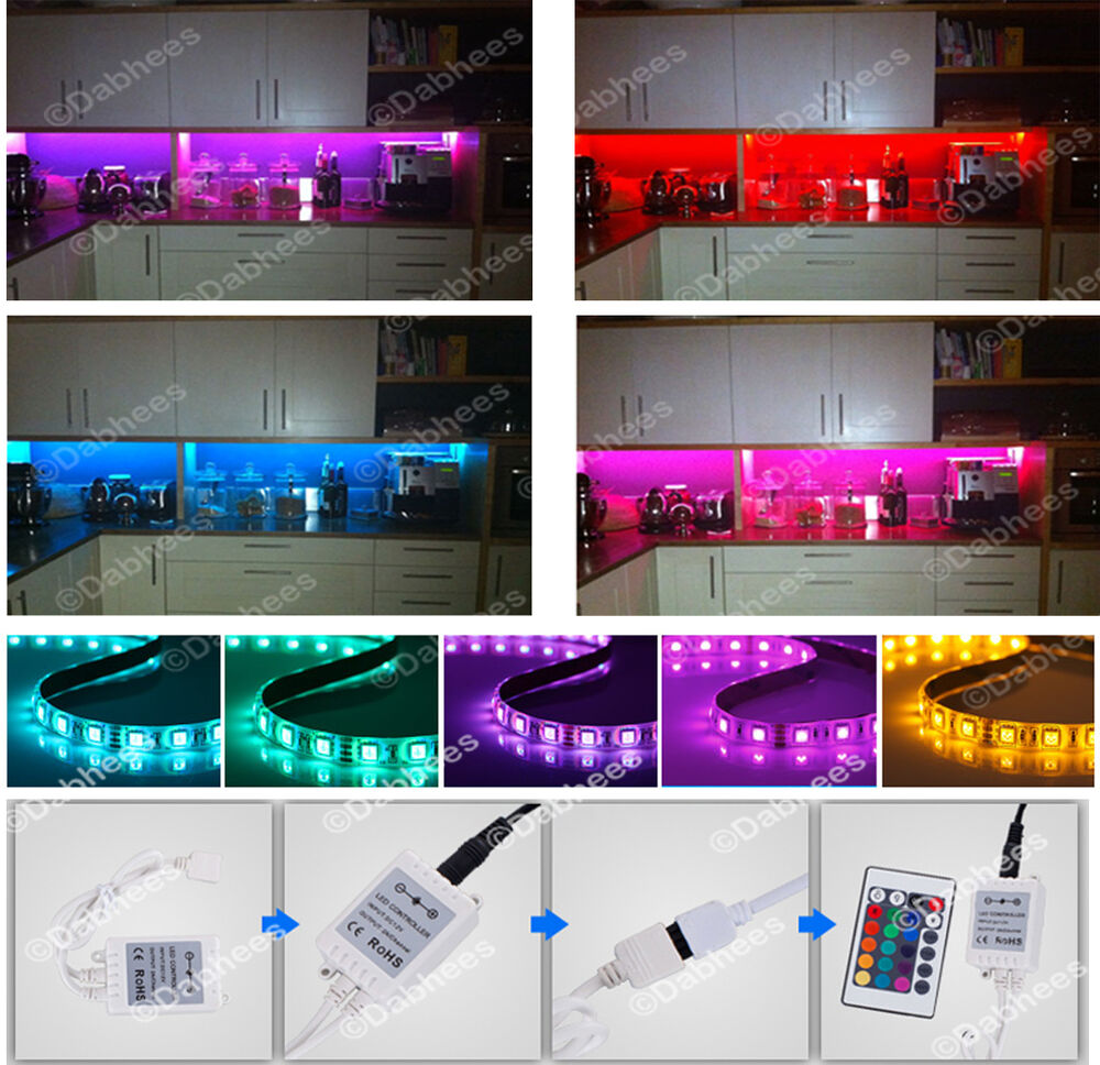 Kitchen Under Cabinet Counter Led Lighting Free Shipping: KITCHEN LED STRIP LIGHT COLOR CHANGING RGB UNDER CABINET