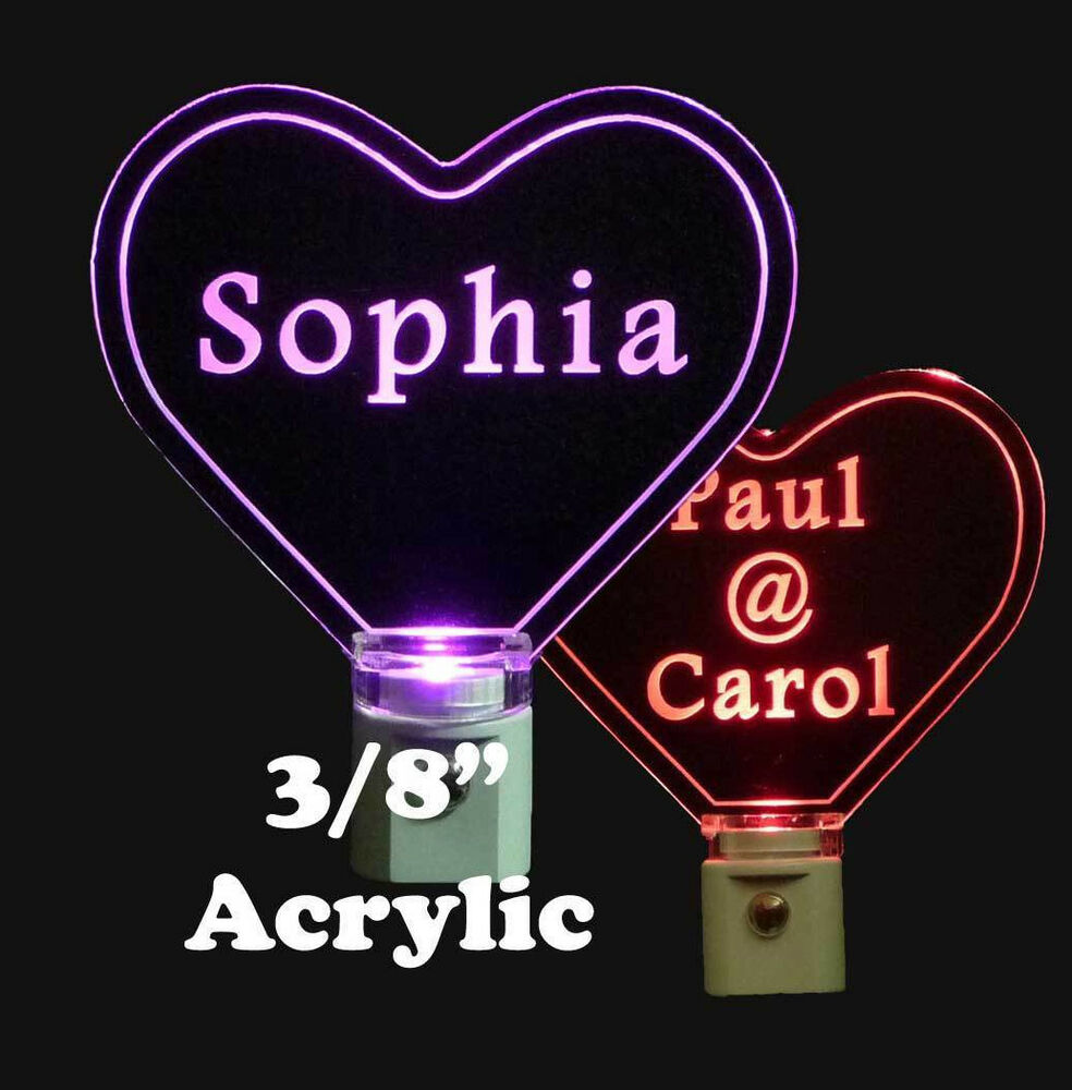 Personalized Custom Heart Shaped Led Night Light 3 8