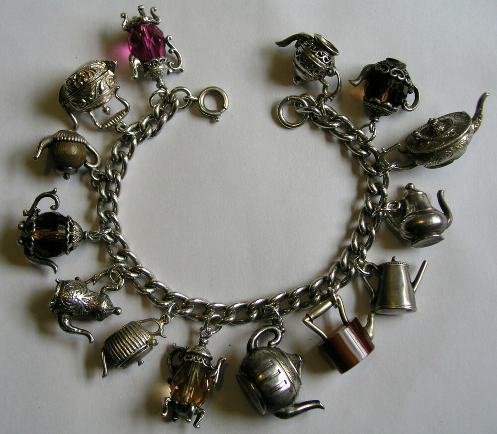 Vintage Silver English Afternoon Teatime Charm Bracelet W