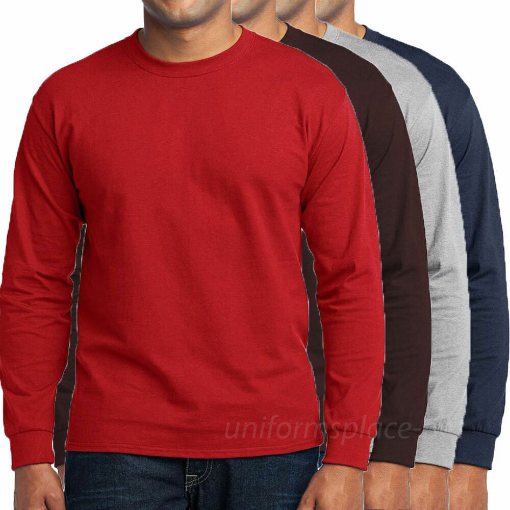 Mens T Shirts Long Sleeve Blank Tee Solid Colors Cotton