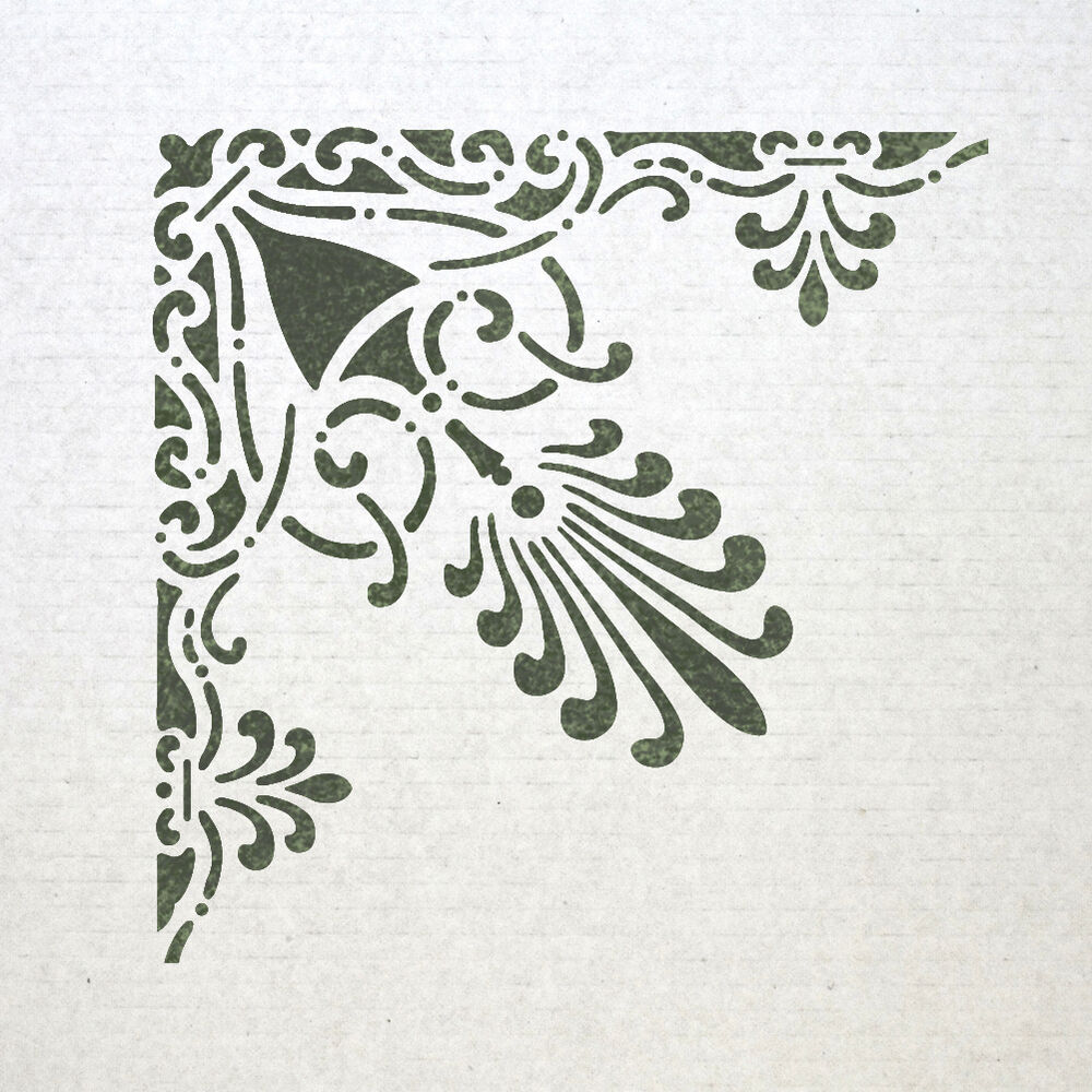 Corner stencil reusable template 037 for wall diy decor ebay for Wall art templates free