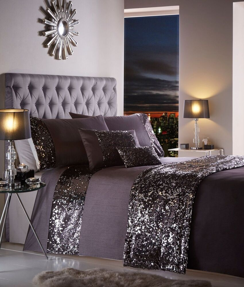 Aubergine Purple Stylish Sequin Duvet Quilt Cover Set