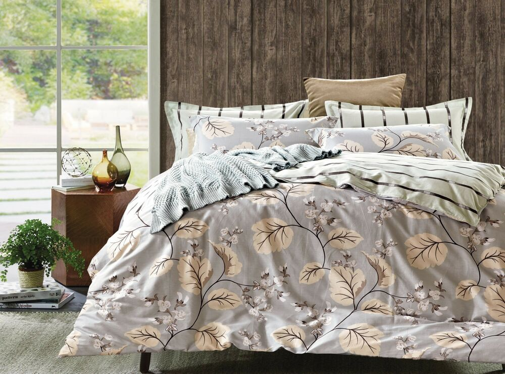 nature 100 cotton comforter cover duvet cover pillowcases queen king tc300 ebay. Black Bedroom Furniture Sets. Home Design Ideas