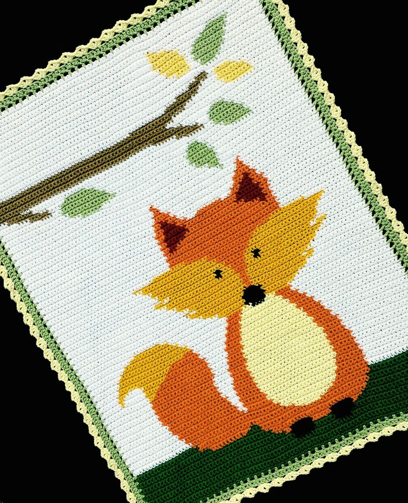 Knitting Patterns For Forest Animals : Crochet Patterns - FOX WOODLAND/FOREST Baby Afghan Pattern *EASY* eBay