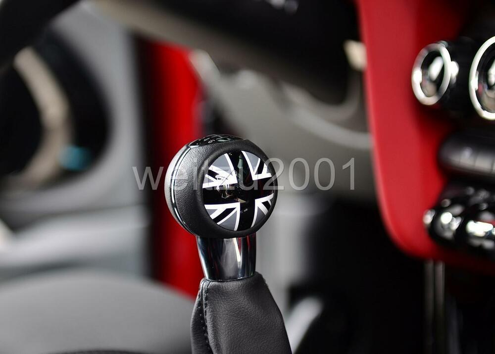 black union jack manual shift knob badge trim for mini. Black Bedroom Furniture Sets. Home Design Ideas