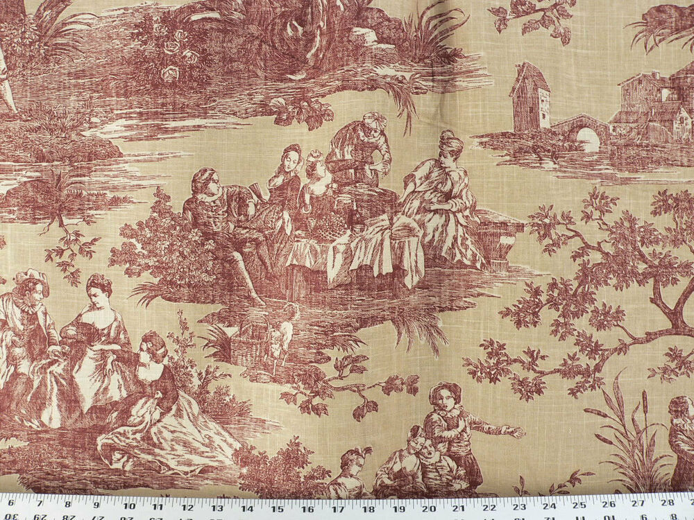 Drapery Upholstery Fabric Blended Cotton Linen Look Toile