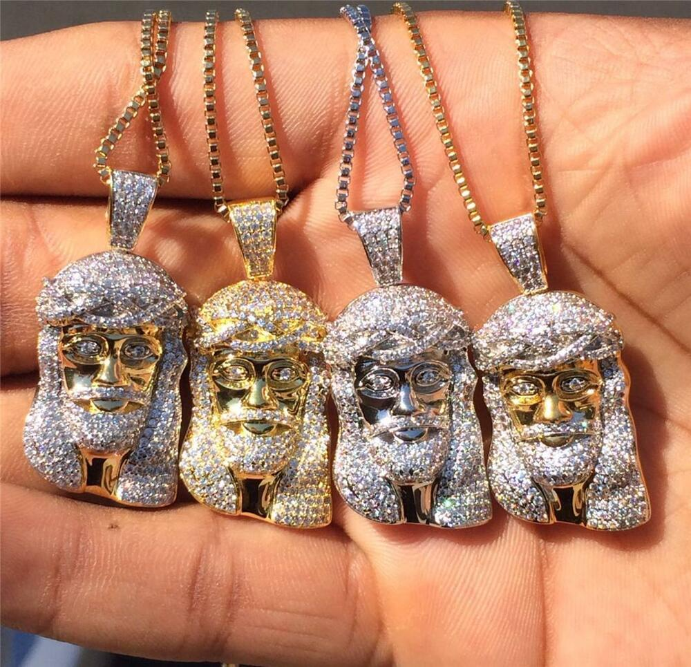 Gold Plated Mini Micro Hip Hop Iced Out Jesus Piece Chain And ...