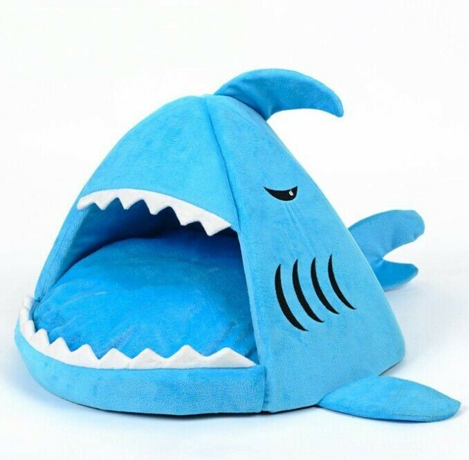 New blue shark shape short plush pet dog cat house sofa for Life size shark plush