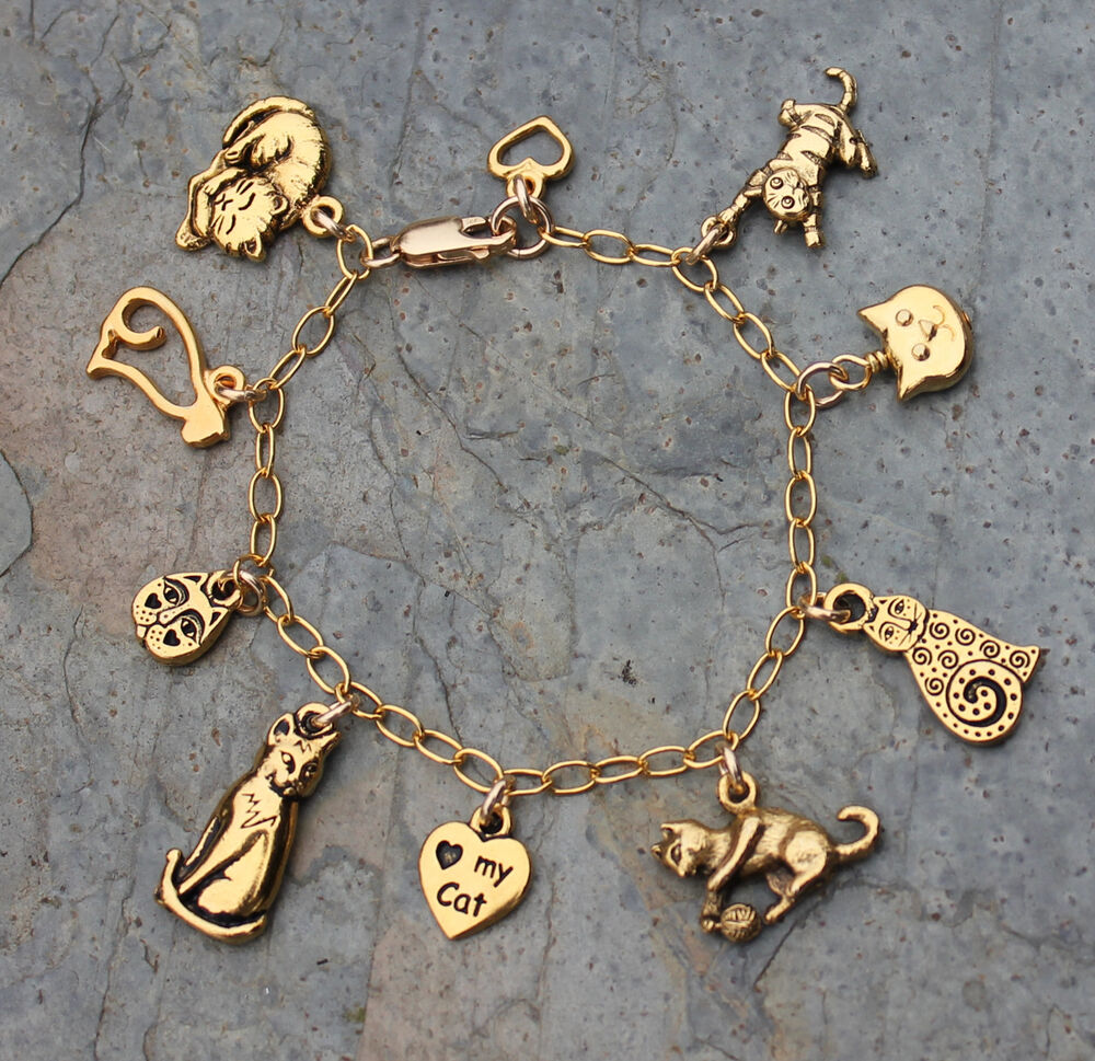 Gold Charm Bracelets: Love My Kitty Cat Charm Bracelet With 14k Gold Filled