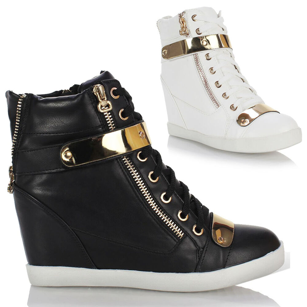 WOMENS LADIES WEDGE CONCEALED HEEL HIGH TOPS PLATFORM ...