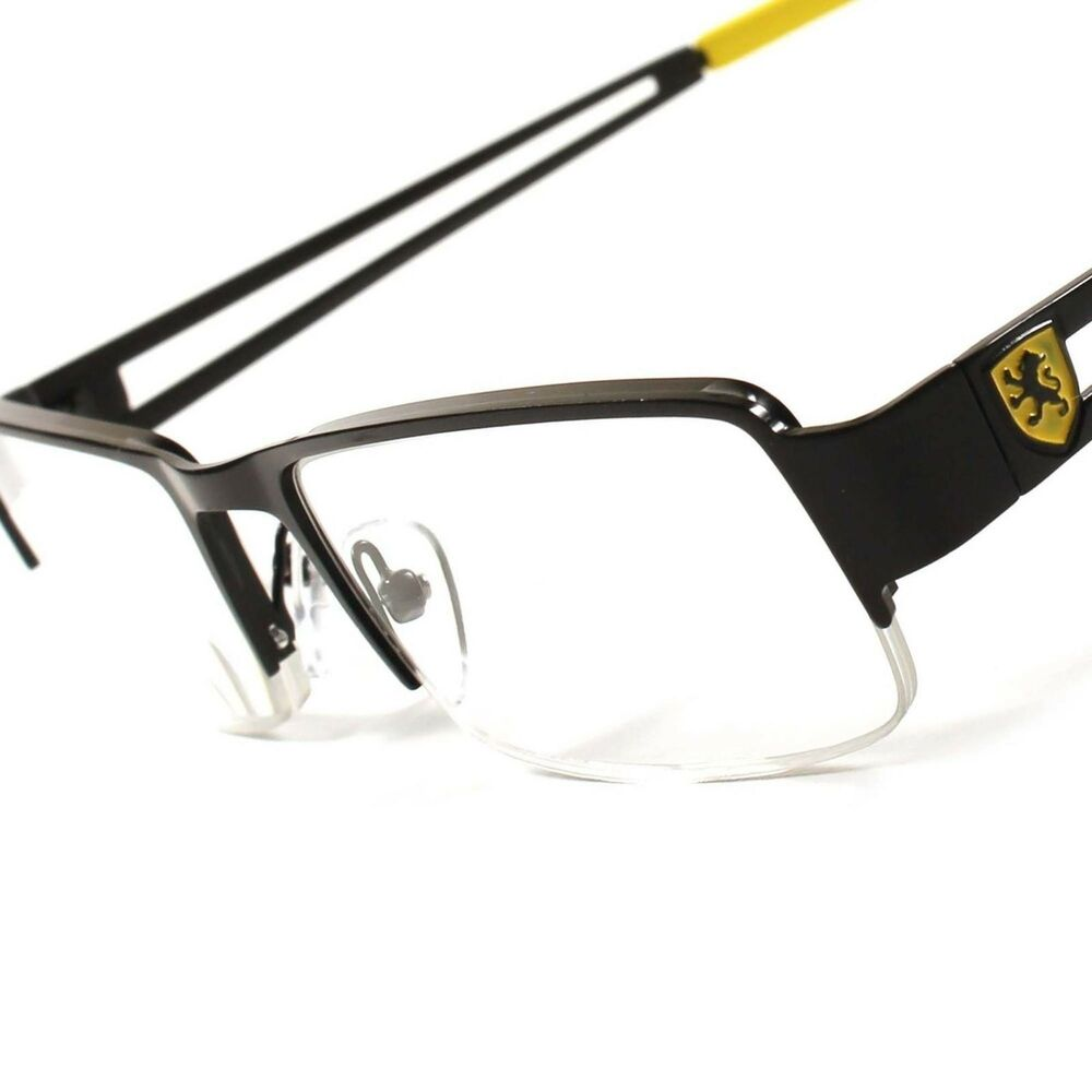 Fashion Black Yellow Rectangle Half Frame Mens Womens 2.50 ...
