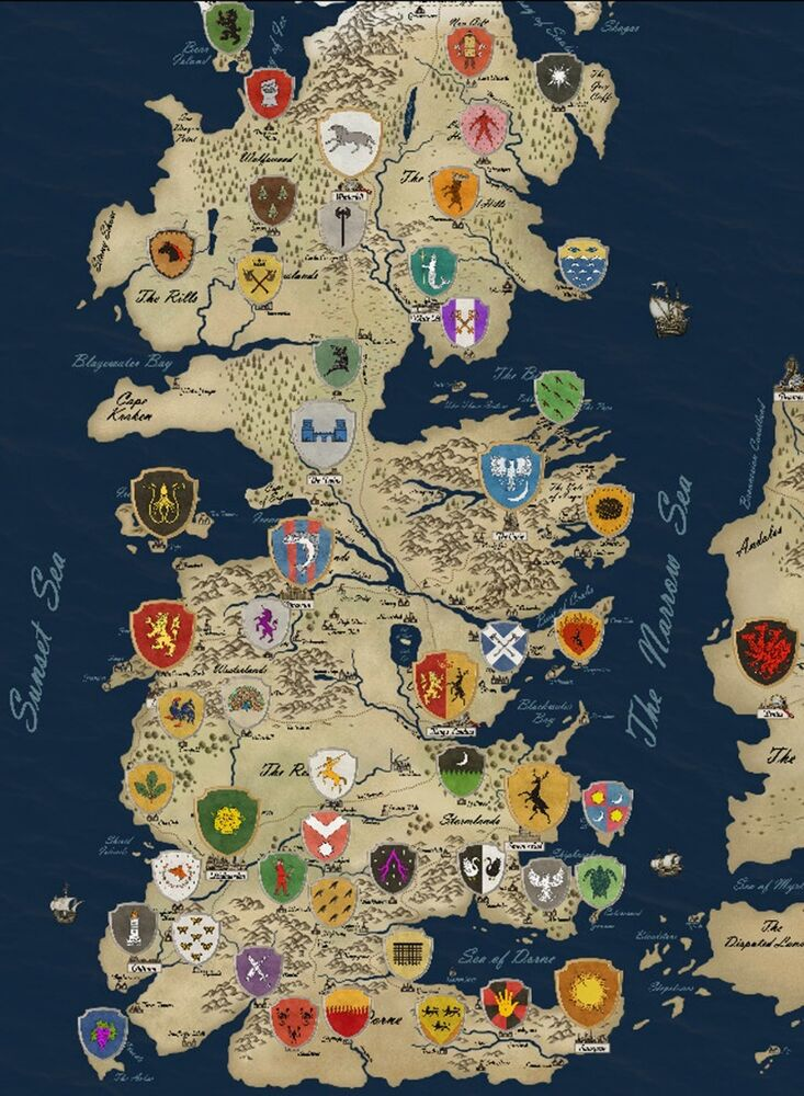 game of thrones houses map westeros tv show fabric poster 17 x 13 decor 55 ebay. Black Bedroom Furniture Sets. Home Design Ideas