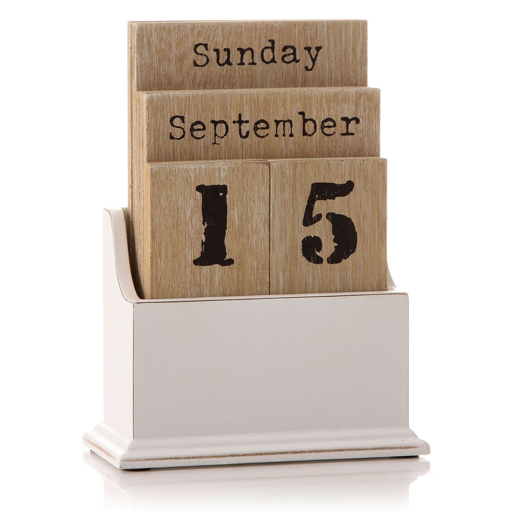 Vintage Wooden Block Perpetual Year Calendar Date Home Office Desk ...