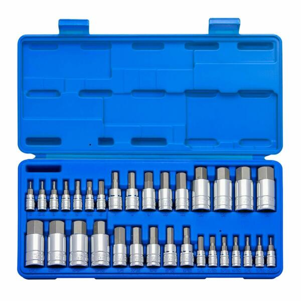 Master Hex Bit Set | 32pc SAE & Metric Socket Set Standard Allen 1/4