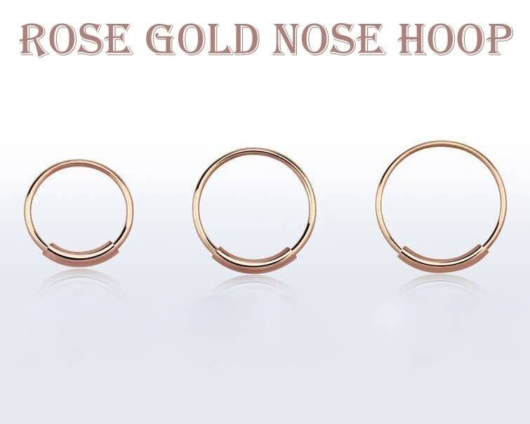 22g 1 4 5 16 3 8 Rose Gold Plated Seamless Cartilage