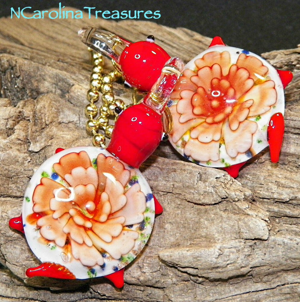 Large Glass Ceiling Fan Pulls: MURANO GLASS CEILING FAN LIGHT SWITCH PULL RED FLORAL