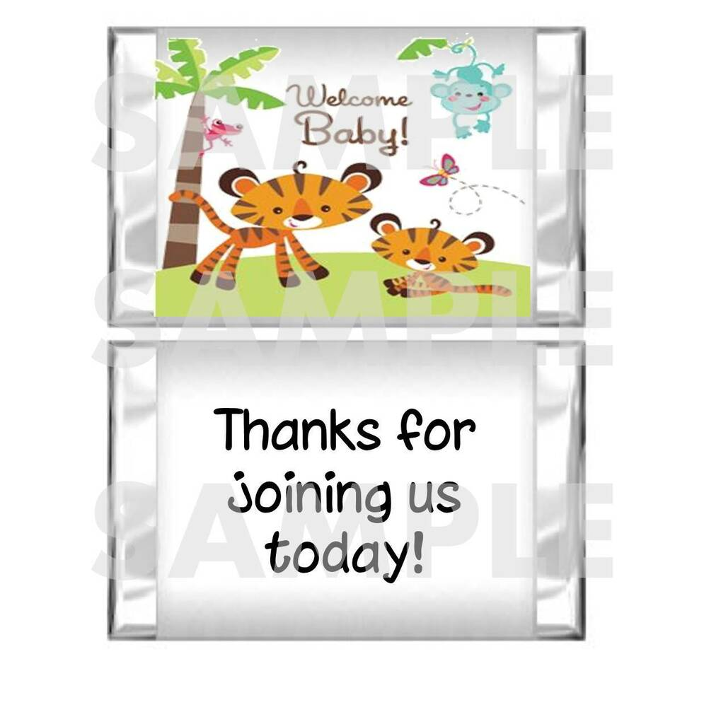 tropical rainforest animals fisher price baby shower mini candy bar