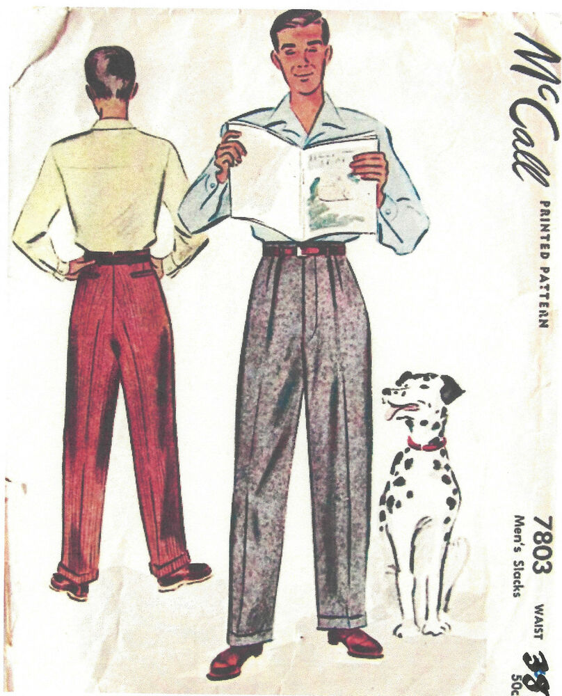 1940s ww2 vintage sewing pattern w38 mens pants trousers 1311 ebay. Black Bedroom Furniture Sets. Home Design Ideas