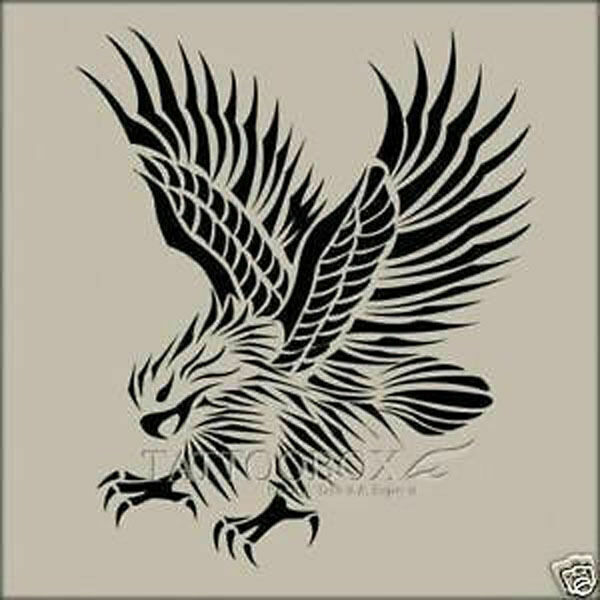 Reusable airbrush stencils templates eagle large size for Spray on tattoo stencils
