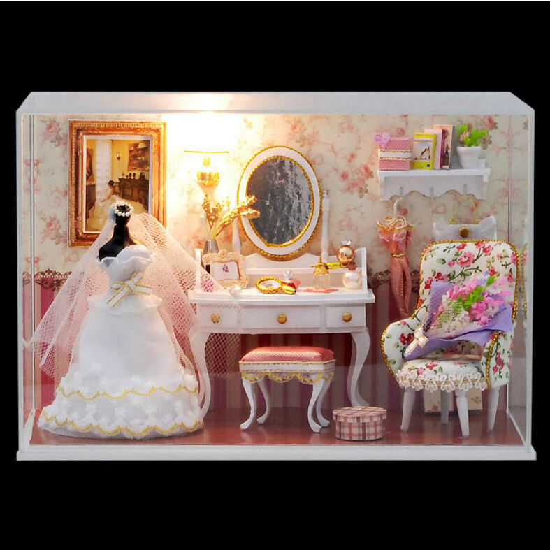 Diy Miniature Doll House Flat Packed Cardboard Kit Mini: DIY Handcraft Miniature Project Kit Wooden Dolls House My